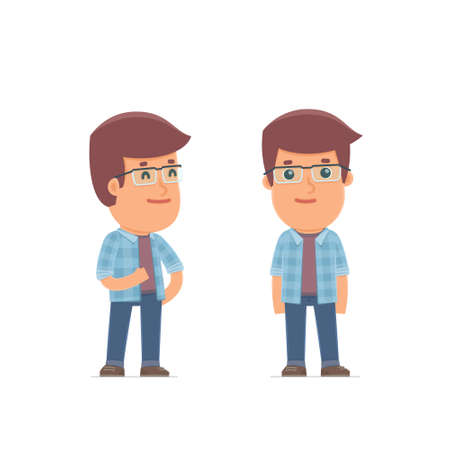 relaxed: Happy Character Freelancer standing in relaxed pose. for use in presentations, etc.