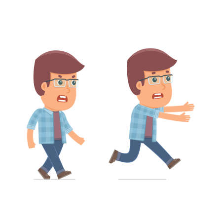 fear: Angry and Frightened Character Freelancer goes and runs. for use in presentations, etc. Illustration