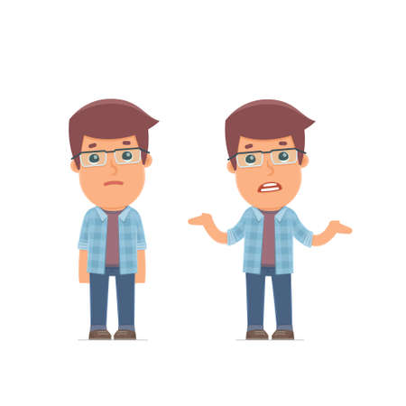 Ð¡onfused  Character Freelancer embarrassment and does not know what to do. for use in presentations, etc.