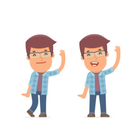 candid: Funny and Cheerful Character freelancer welcomes viewers. for use in presentations, etc. Illustration