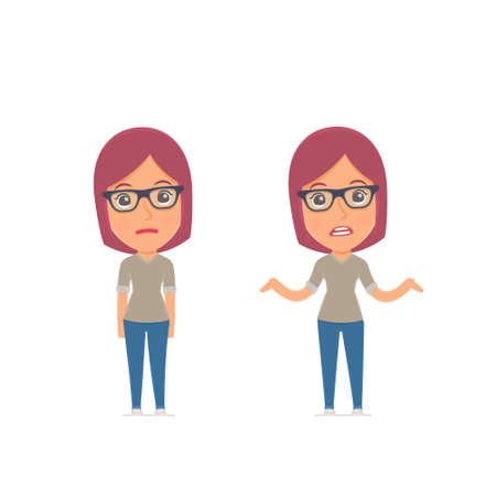 Ã�Â¡onfused  Character Girl Designer embarrassment and does not know what to do. for use in presentations, etc. Ilustração