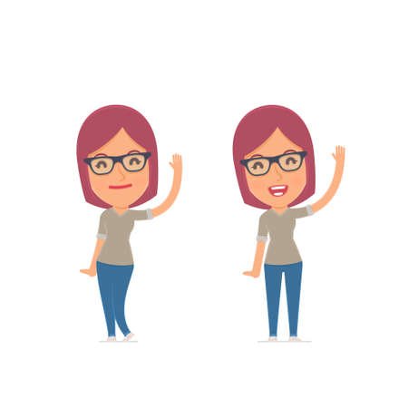 happiness or success: Funny and Cheerful Character Girl Designer welcomes viewers. for use in presentations, etc.