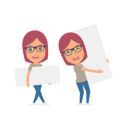 interacts: Funny Character Girl Designer holds and interacts with blank forms or objects. for use in presentations, etc.