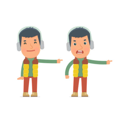 the explanation: Happy and Angry Character Winter Citizen making presentation using his hand. for use in presentations, etc. Illustration