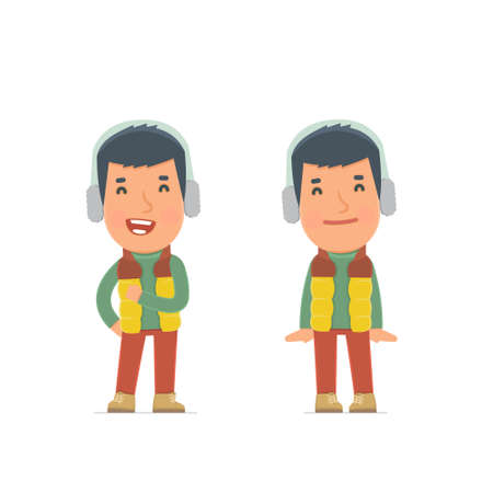 shy: Funny Character Winter Citizen in confident and shy poses. for use in presentations, etc. Illustration
