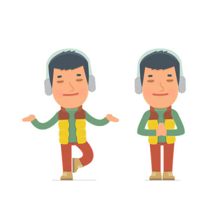 meditates: Calm and Blanced Character Winter Citizen does yoga and meditates. for use in presentations, etc. Illustration