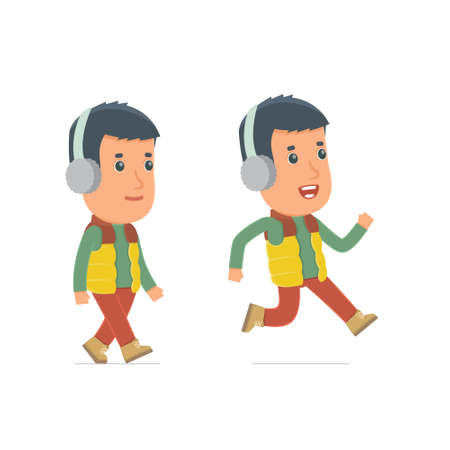 cheerful character: Funny and Cheerful Character Winter Citizen goes and runs. for use in presentations, etc.