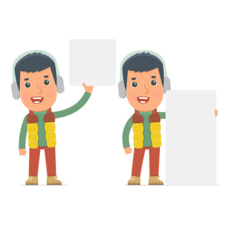 interacts: Funny Character Winter Citizen holds and interacts with blank forms or objects. for use in presentations, etc.