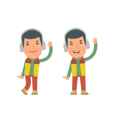 viewers: Funny and Cheerful Character Winter Citizen welcomes viewers. for use in presentations, etc. Illustration