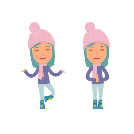meditates: Calm and Blanced Character Winter Girl does yoga and meditates. for use in presentations, etc. Illustration