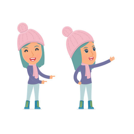 winter girl: Happy and Cheerful Character Winter Girl making presentation using his hand. for use in presentations, etc.