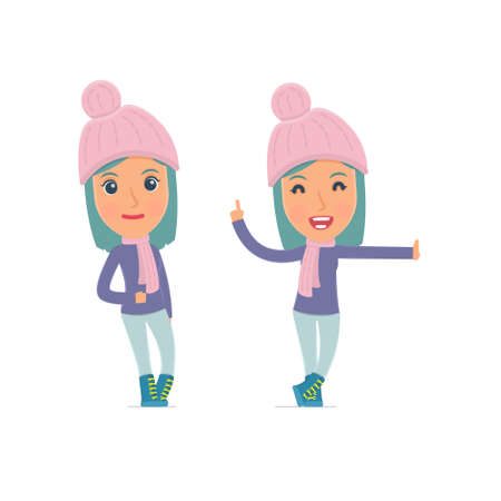 leaned: Smart and Funny Character Winter Girl leaned against the wall and shares information. for use in presentations, etc.