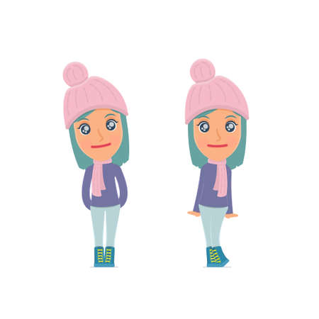 affectionate: Cute and Affectionate Character Winter Girl in shy and awkward poses. for use in presentations, etc.
