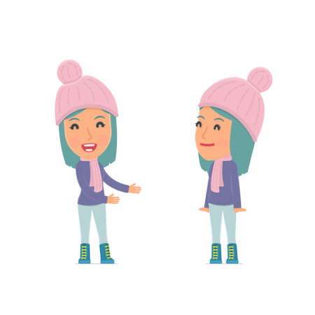 this: Funny Character Winter Girl introduces his shy friend. Poses for interaction with other characters from this series Illustration