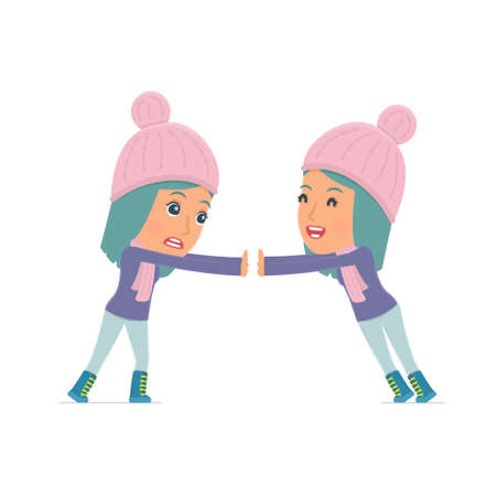 winter girl: Funny Character Winter Girl holds and interacts with blank forms or objects. for use in presentations, etc.
