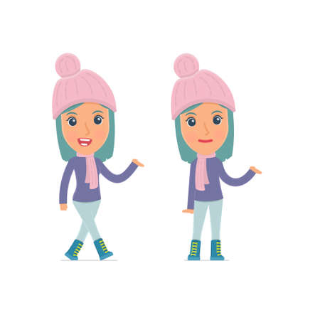 cheerful character: Funny and Cheerful Character Winter Girl making presentation using his hand. for use in presentations, etc.