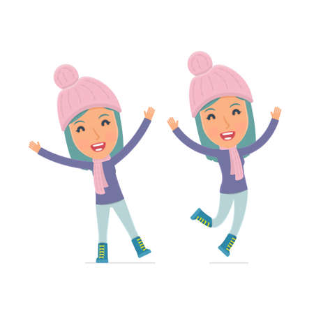 beauty girls: Laughing and Joyful Character Winter Girl celebrates and jumps. for use in presentations, etc.