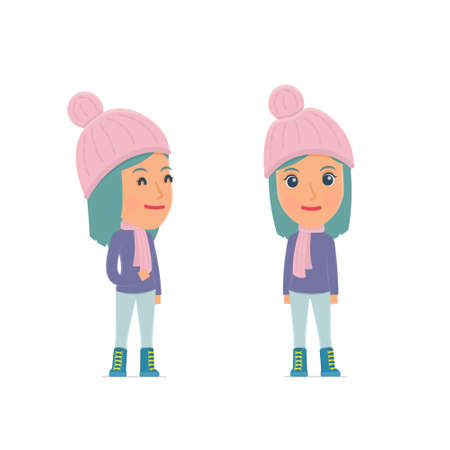 pleased: Happy Character Winter Girl standing in relaxed pose. for use in presentations, etc. Illustration