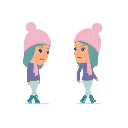 melancholy: Sad and Frustrated Character Winter Girl goes and drags. for use in presentations, etc. Illustration