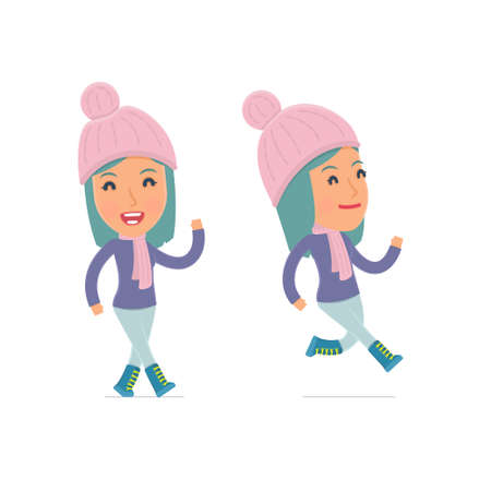 winter girl: Happy and Cheerful Character Winter Girl goes and runs. for use in presentations, etc.