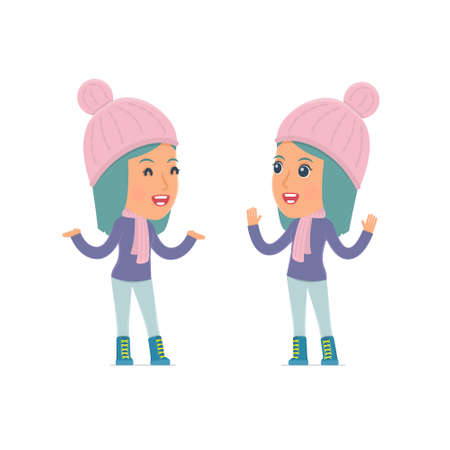 winter girl: Funny Character Winter Girl tells interesting story to his friend. Poses for interaction with other characters from this series Illustration