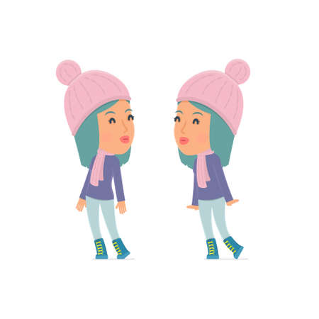 dishonesty: Tired and Exhausted Character Winter Girl sleeping on the shoulder of his friend. Poses for interaction with other characters from this series Illustration