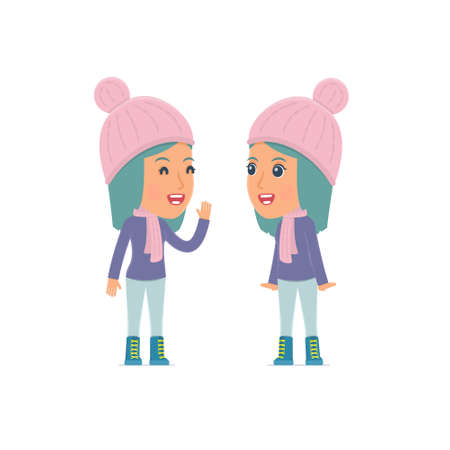cunning: Cunning Character Winter Girl gossiping and telling secret to his friend. Poses for interaction with other characters from this series Illustration
