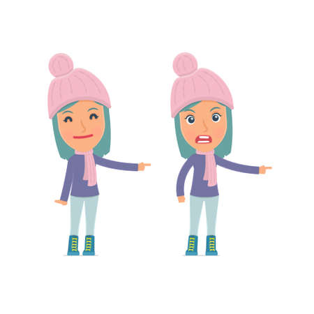 winter girl: Happy and Angry Character Winter Girl making presentation using his hand. for use in presentations, etc.