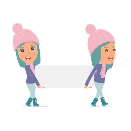 interacts: Funny Character Winter Girl holds and interacts with blank forms or objects. Poses for interaction with other characters from this series