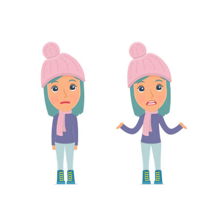 Confused  Character Winter Girl embarrassment and does not know what to do. for use in presentations, etc. Vectores