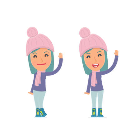 congratulate: Funny and Cheerful Character Winter Girl welcomes viewers. for use in presentations, etc. Illustration