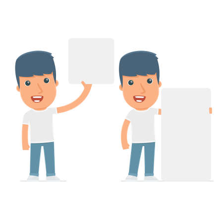 activist: Funny Character Activist holds and interacts with blank forms or objects. for use in presentations, etc. Illustration