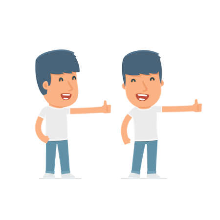 activist: Funny and cheerful Character Activist showing thumb up as a symbol of approval. for use in presentations, etc. Illustration