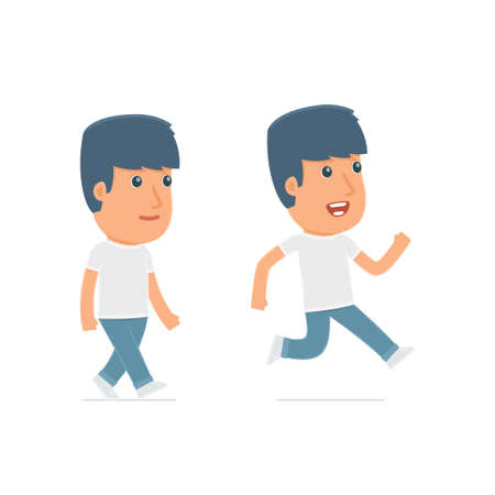 activist: Funny and Cheerful Character Activist goes and runs. for use in presentations, etc. Illustration