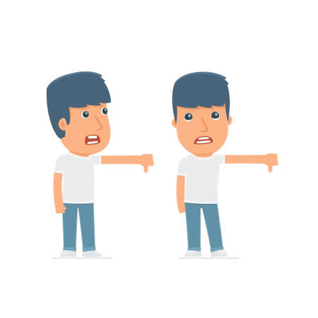 no mistake: Frustrated and Angry Character Activist showing thumb down as a symbol of negative. for use in presentations, etc. Illustration