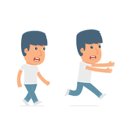 activist: Angry and Frightened Character Activist goes and runs. for use in presentations, etc. Illustration
