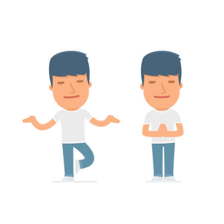 meditates: Calm and Blanced Character Activist does yoga and meditates. for use in presentations, etc. Illustration