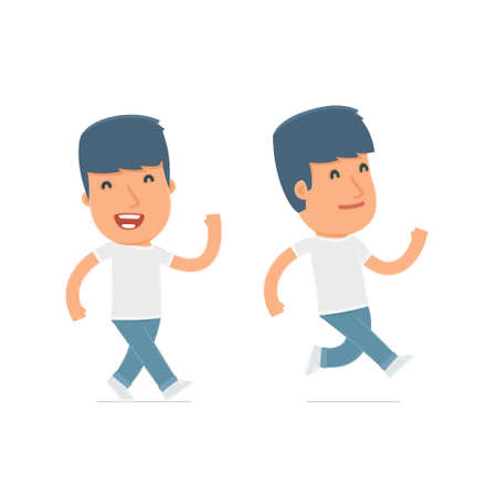 activist: Happy and Cheerful Character Activist goes and runs. for use in presentations, etc.