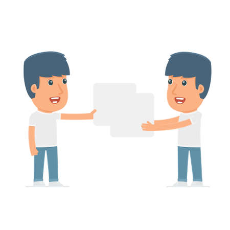 interacts: Funny Character Activist holds and interacts with blank forms or objects. for use in presentations, etc. Illustration