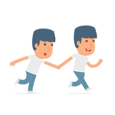 activist: Happy and Joyful Character Activist runs and drags his friend to show him something. Poses for interaction with other characters from this series Illustration