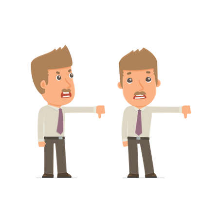 no mistake: Frustrated and Angry Character Broker showing thumb down as a symbol of negative. for use in presentations, etc. Illustration