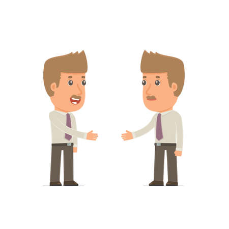 business contract: Intelligent Character Broker concludes business contract with his partner. Poses for interaction with other characters from this series Illustration