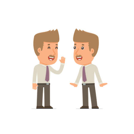telling: Cunning Character Broker gossiping and telling secret to his friend. Poses for interaction with other characters from this series Illustration