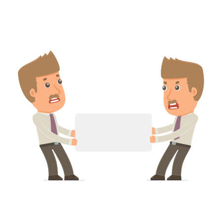 interacts: Funny Character Broker holds and interacts with blank forms or objects. Poses for interaction with other characters from this series