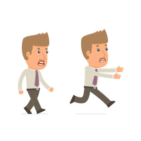 broker: Angry and Frightened Character Broker goes and runs. for use in presentations, etc. Illustration