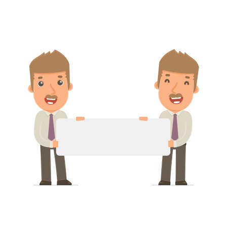 broker: Funny Character Broker holds and interacts with blank forms or objects. Poses for interaction with other characters from this series