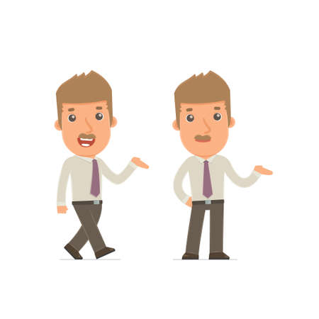 cheerful character: Funny and Cheerful Character Broker making presentation using his hand. for use in presentations, etc.
