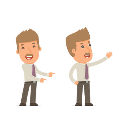 cheerful character: Happy and Cheerful Character Broker making presentation using his hand. for use in presentations, etc.