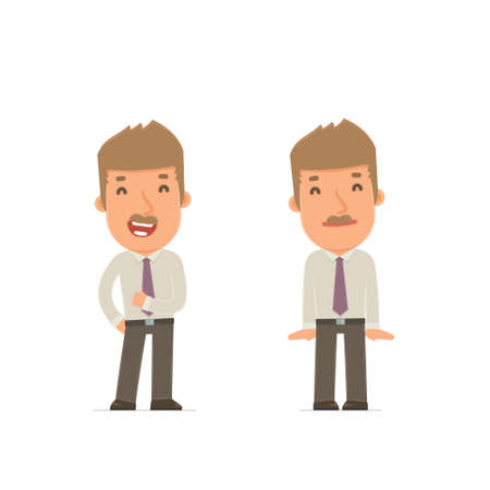employee satisfaction: Funny Character Broker in confident and shy poses. for use in presentations, etc.