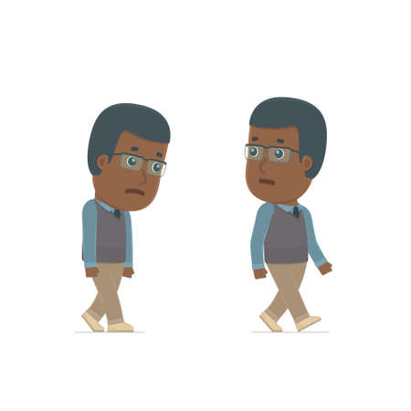 pitiful: Sad and Frustrated Character African American Teacher goes and drags. for use in presentations, etc.